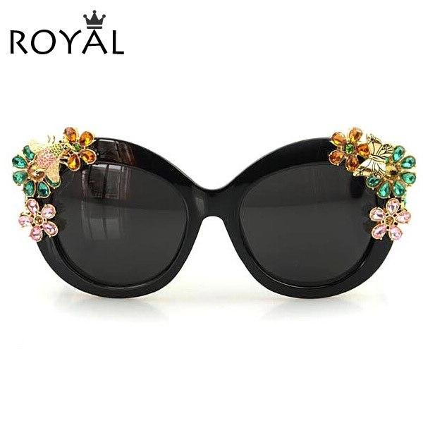ROYAL GIRL Brand Luxury Sunglasses Statement Women Jewelry Sun glasses  Flower Decoration Vintage Shades Gafas SS302<br><br>Aliexpress