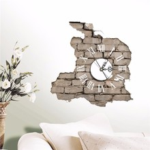 Sticker 3D Wall Clock Decals Breaking Cracking Wall Sticker Home Wall Decor Gift PVC Plastic Electronic Movement Hot Sale(China)