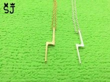 1PCS Cute Lightning Necklaces Long Lightening Bolt Necklace Simple Storm Thunder Bolt Necklaces for Women Party Gift