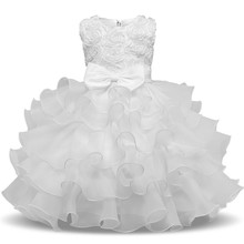 Flower Girl Christening Wedding Party Dress Fluffy Tutu Toddler Baby Girls Graduation Prom Gowns Kids Dresses For Girls Clothes