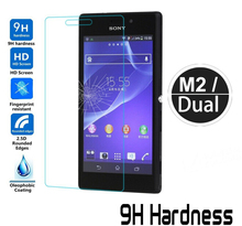 9H Hardness Tempered Glass Film For Sony Xperia M2 /M2 Dual Screen Protector Tempered Glass for Sony Xperia M2 Cristal Templado
