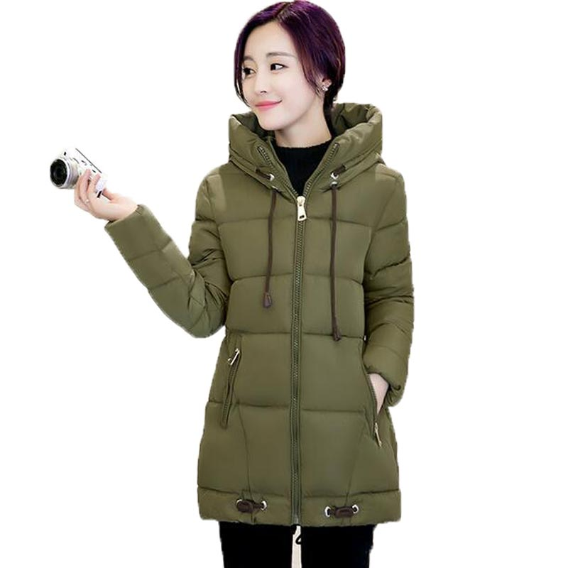 2017 Winter Wadded Jacket Women Hooded Loose Casual Cotton Padded Down Coat Medium Long Thicken Warm Outwear Female PW0480Одежда и ак�е��уары<br><br><br>Aliexpress