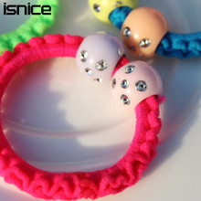 20pcs isnice Sweet Solid shine ball Elastic Hair ropes Kids Hair ties Adorable Ponytail Holder Hair Accessories
