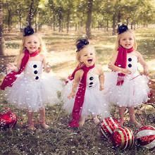 Moeble Pure White Snowman Children Girls Tutu Dresses Christmas Baby Fashion Clothes Handmade Girls Party Dress Vestidos(China)