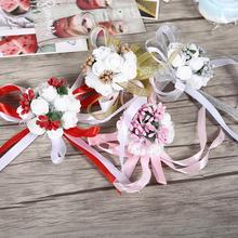 1Pc Beautiful Hand Ribbon Flower Bridal Bridesmaid Wrist Corsage Prom Wedding Party Decorations