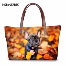 INSTANTARTS Kawaii 3D Animal French Bulldog Printing Women Large Tote Bags Brand Designer Travel Shoulder Bags Fashion Handbags(China)