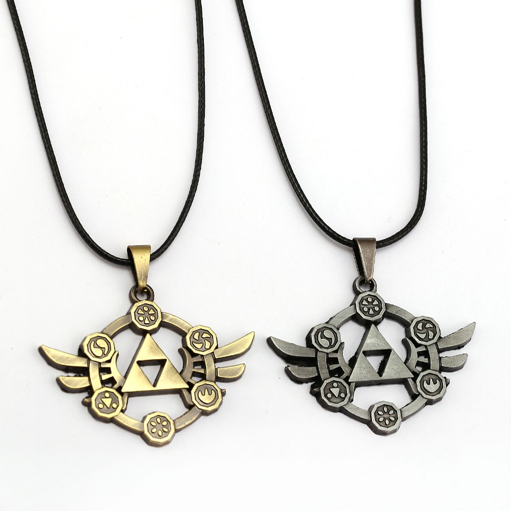 Legend Zelda Necklace Power Triforce Pendant Fashion Rope Chain Necklaces Women Men Charm Gifts Game Jewelry