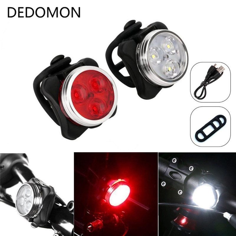 3 LED Bike Light Set  Head Front  With USB Rechargeable And Tail Clip Lights