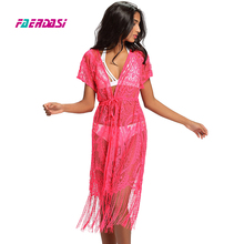 New Hollow Out Beach Dress Bathing Suit Cover Up Female Tunic Sexy Swimwear Summer Crochet Bikini Cover ups Women Swimsuit Pareo(China)