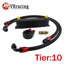 VR RACING - UNIVERSAL 10 ROWS OIL COOLER+OIL FILTER SANDWICH ADAPTER BLACK + SS NYLON STAINLESS STEEL BRAIDED AN10 HOSE