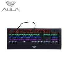 AULA Mechanical Keyboard RGB Colorful Backlit Gaming Keyboard 104 Keys Blue Switch Axis for Gamer Computer