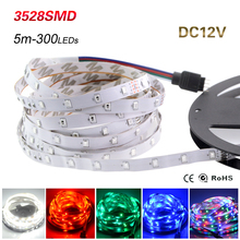 New Arrival 5M 300Leds Non-waterproof RGB Led Strip Light 3528 SMD DC12V Flexible Light Led Ribbon Tape Home Decoration Lamp