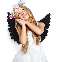 Lovely Kids Girl Photography Props White Black Fairy Angel Feather Wings Party Decor Adult Costume Outfit Fotografia Accessories