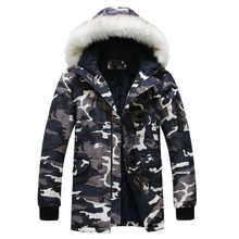 New 2016 Camouflage Down Parkas Jackets Men's Parka Hooded Coat Male Fur Collar Parkas Winter Jacket Men Military Down Overcoat(China)