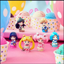 6PCS/SET Cute Anime Sailor Moon Petit Chara Land Ice Cream Party PVC Action Figure Resin Collection Model Toy Doll Gifts Cosplay