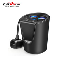 Cup Car Charger Holder Auto Power Adapter With 2 USB Port and 2 Cigarette Lighter Hub Socket  For iPhone Samsung Galaxy Note