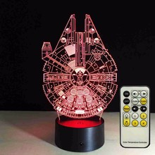 Star Wars Millennium Falcon 3D LED Night Light 7Colorful Atmosphere Lamp Novelty Lighting with telecontrol