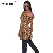 Abasona Women Long Shirts Sexy Off Shoulder Side Split Women Tops Long Sleeve Buttons Design Printed Blouses Party Club Shirt(China)