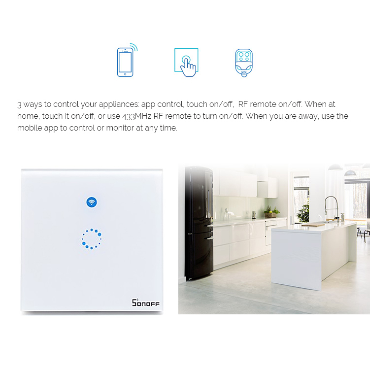 Sonoff T1 1 2 3Gang Smart Home Automation Wireless Wifi Light Switch control RF/APP/Touch Timer with Alexa Google Voice Control