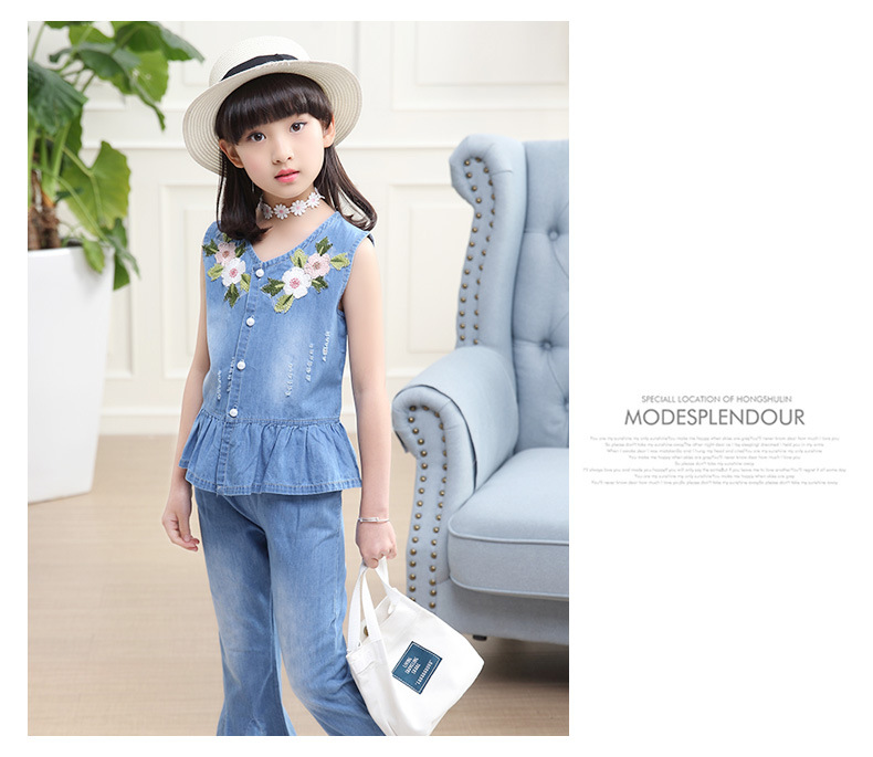 3-12 y summer girls clothes set denim outfits fashion sets for girl sleeveless embroidery top flared trousers children\`s sets (6)