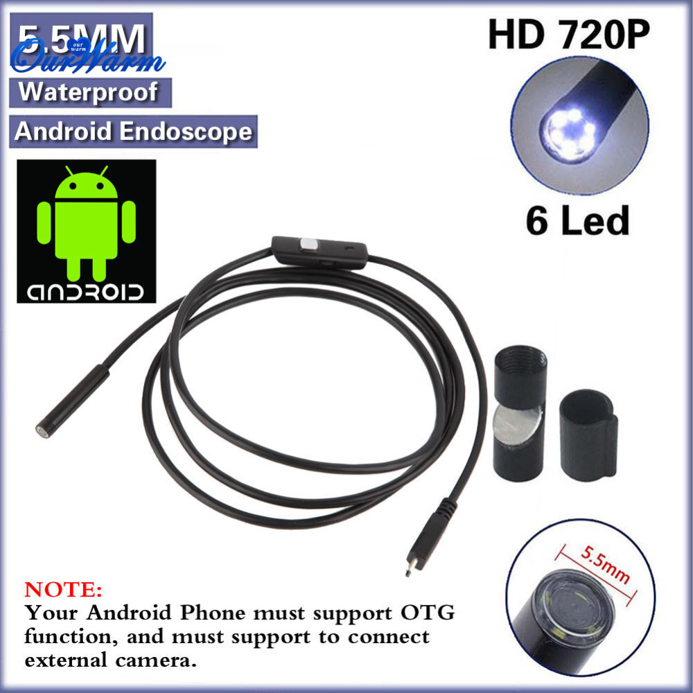 2pcs 6 LED 5.5mm Lens Android USB Endoscope Waterproof Inspection Borescope Tube Camera 2M<br><br>Aliexpress