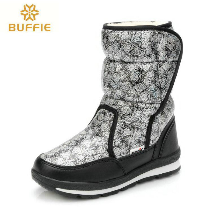 Women snow boots 2017 new arrivals high quality waterproof mid-calf boots thick plush winter shoes fashion hook-loop women boots<br>
