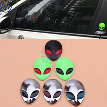 1pcs New Arrival Auto Car Motorcycle Body Sticker Alien 3D Alienware Head UFO 3M Chrome Metal Skull Badge Emblem Decals 6Colors(China)