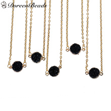 "DoreenBeads Resin Druzy /Drusy Necklace Link Cable Chain Gold color Black Round 43.0cm(16 7/8"") long, 1 Piece 2016 new"