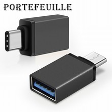 Portefeuille 10PCS USB-C to USB 3.0 Adapter OTG for MacBook Nexus 5X 6p LG G5 G6 HTC 10 xiaomi mi6 mi5 Type-C Black Accessories