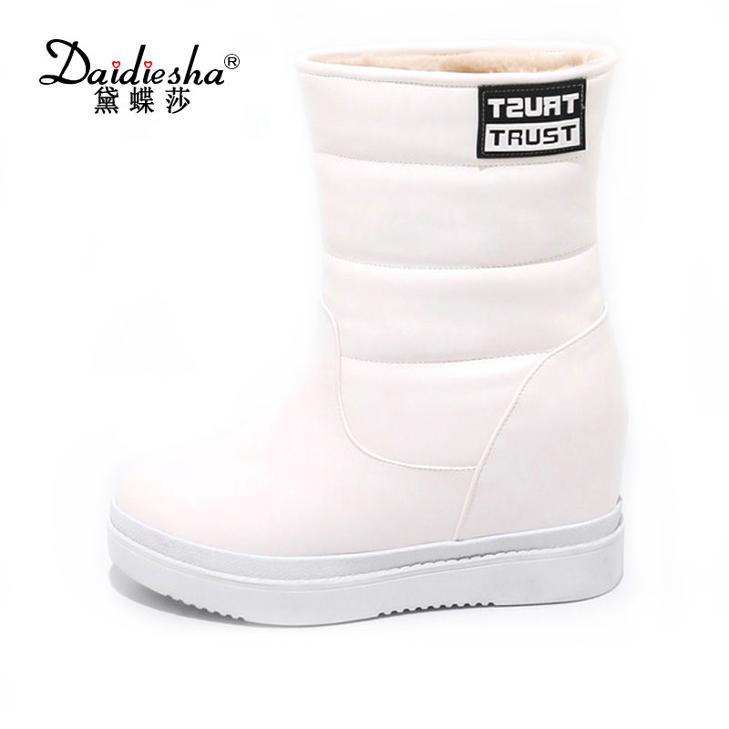 Daidiesha 2017 Fashion Womens Winter Snow Boots Booties Slip On Casual Warm Wedges Mid Calf Waterproof Short Boots <br>