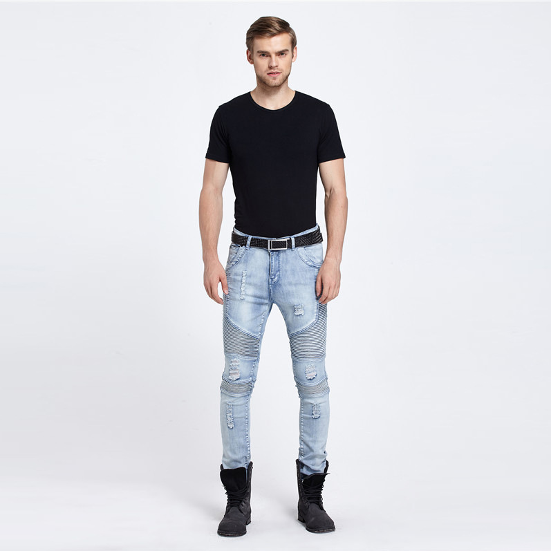 2017 Men Jeans Ripped frayed Rider men Biker Jeans Motorcycle Washed Blue Black Moto Joggers Skinny male Rap Denim PantsОдежда и ак�е��уары<br><br><br>Aliexpress