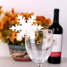 Snow Leaf Shape Paper Crafts Snowflake Place Name Cards for Glass Wine Beer Christmas Winter Wedding Table Festival Decorations(China)