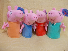 genuine plush pig toy Hand Puppet Peppa Pig high quality hot sale Cartoon partner Soft Stuffed Animal Doll For Children's Gift(China)