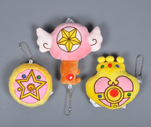 Anime Sailor Moon plush toy Cartoon Cardcaptor Sakura Plush Keychain Heart Crown pattern stuffed doll Sweet Cute girl key ring