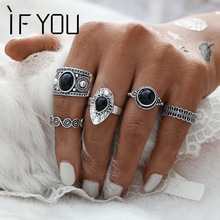 IF YOU Turkish Vintage Ring Sets 5PCs/Set Antique Alloy Black Stone Midi finger Rings for Women Lady Steampunk Anillos Dropship