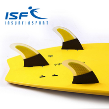Free Shipping!!!  Yellow Honeycomb Carbon Fiber FCS  Surfboard Fins