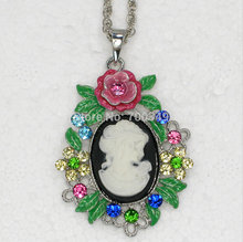 Wholesale 12piece/lot Colorful Crystal Rhinestone Enameling Cameo Flowers Pendant Necklace Jewelry gift F217 J