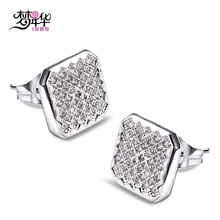 Dreamcarnival1989 Super Cute Women's Square Stud Earrings Zirconia Paved Rhodium Color Drop Shipping Wholsales Boucles d'oreill(China)