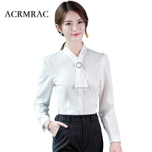 ACRMRAC Women Formal wear Solid color Long sleeves Scarf collar Slim OL Formal Blouses & Shirts(China)