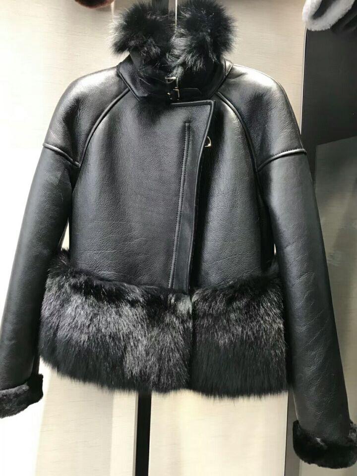 genuine sheep leatherskin jacket fox fur cooar coats (32)