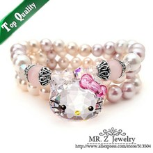 Quality Goods High Elasticity Hello Kitty Charm Mother Pearl Bracelet (One Row - Three Row) Pulseiras Masculinas Free Shipping