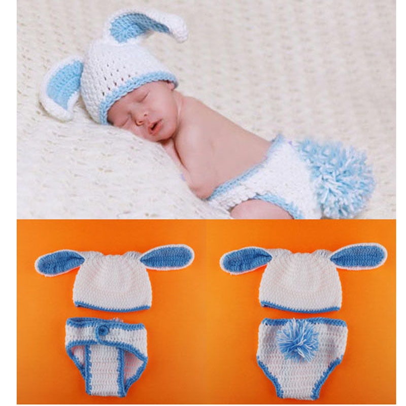 Newborn Easter Bunny Rabbit Outfit Crochet Pattern Photography Props Baby Animal Beanie Hat with Diaper Cover 1set H174(China (Mainland))