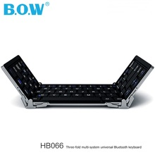 BOW HB066 Three-fold Foldable Multi-system Universal Portable Bluetooth 3.0 keyboard(China)