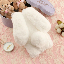Fuzzy Fur plush cell phone Case For Huawei Y6 II 2 3D soft Fluffy Hairy Rabbit ear TPU Fundas cover skin Anti-knock Diamond cute