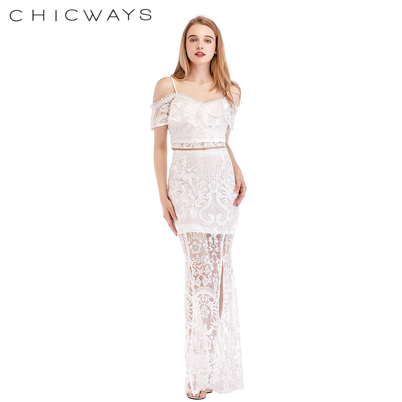 Chicways White Lace Lavish Embroidery Cold Shoulder Crop Top And Maxi Skirt set Front Slits Long Skirts Two Piece Women Sets