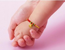 Hot Sale 999 24k Yellow Gold Small Bell Colourful String Weave BABY Bracelets 2.10