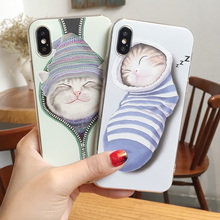 Cute Sleeping Cats Relief TPU Phone Case for iPhone X Soft Cover for iPhone X Protective Case with Cartoon Socks Cat Pattern(China)