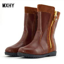 MXHY Winter new children snow boots girl Fashion clothing boots boys girls Genuine leather Martin boots Korean Kids brand Shoes(China)