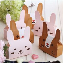 100 Pcs Cute Rabbit Bear Long Ears Gift Box Candy Dessert Gift Boxes Wedding Valentine Birthday Party Chocolate Cake Decor Bag