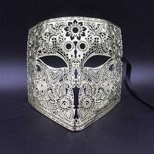 Gold Silver Full Face Bauta Phantom Cosplay Venetian Masquerade Mask Black Skull Halloween Shield Mardi Gras Metal Party Mask(China)